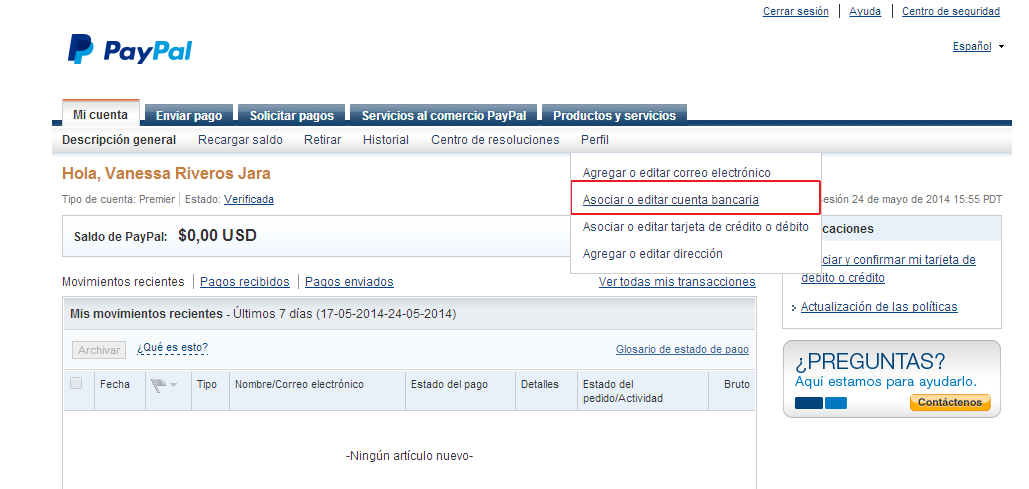 Paypal transferencia bancaria internacional